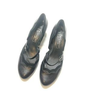 Office leather heels with velvet trim size 10/40